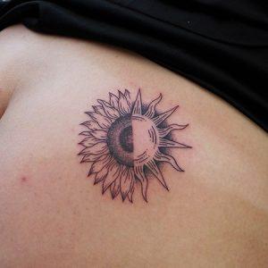 Half-sunflower and half-sun